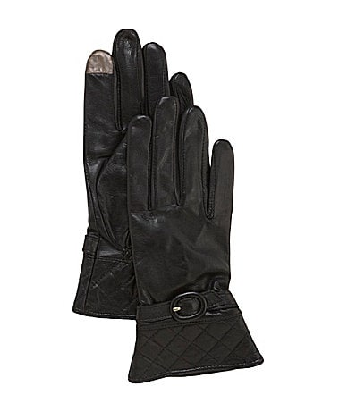 Dillard�s Quilted Cuff Leather Gloves