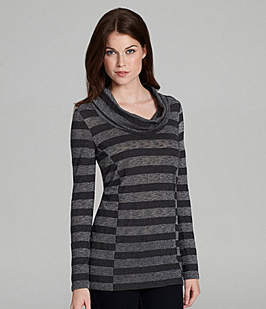 C & C California Cowlneck Metallic-Stripe Tunic