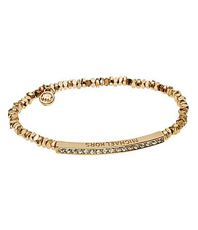 Michael Kors Beaded Pave Bar Stretch Bracelet