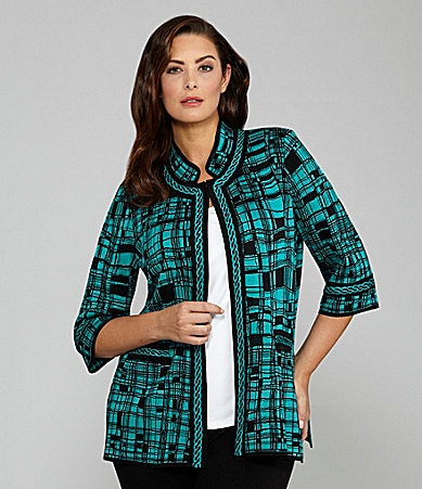 Ming Wang Woman Plaid Jacket