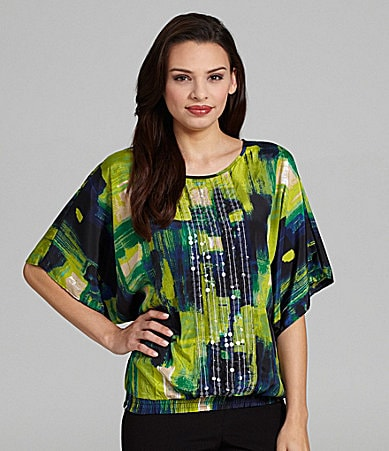 Chelsea & Theodore Batwing-Sleeve Sequined Top