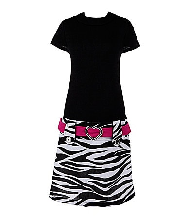 Zunie 7-16 Zebra-Print Drop-Waist Dress
