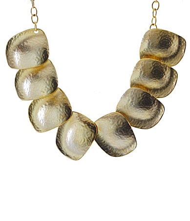 Kenneth Jay Lane Gold Hammered Disc Bib Necklace