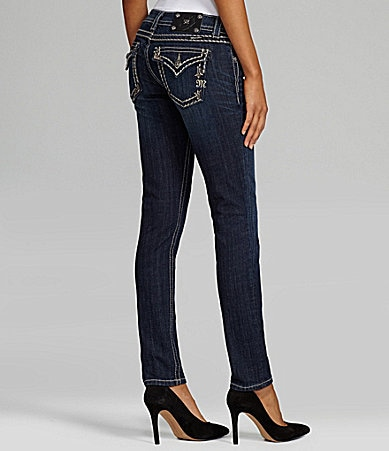 Miss Me Jeans Border-Stitch Embroidered Skinny Jeans