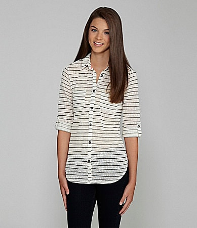 Eyeshadow Striped Roll-Tab Top