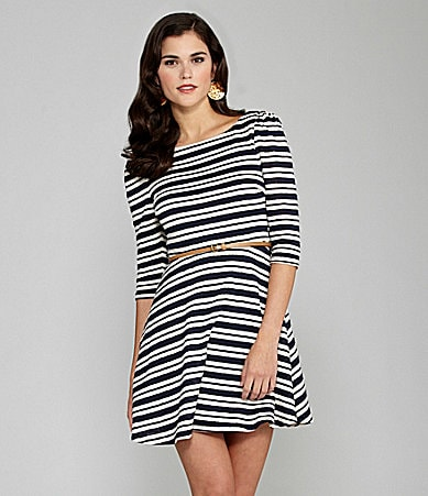 Gianni Bini Roxanne Striped Belted Dress