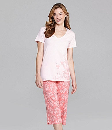 Sleep Sense Coral V-Neck Tee & Capris