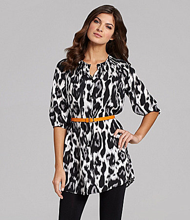 Collective Concepts Smock-Neck Animal-Print Shirtdress