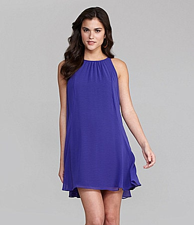 Gianni Bini Brandy Chiffon Overlay Trapeze Dress