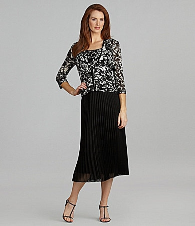 Alex Evenings Lace Twin Set & Accordion Pleat Skirt
