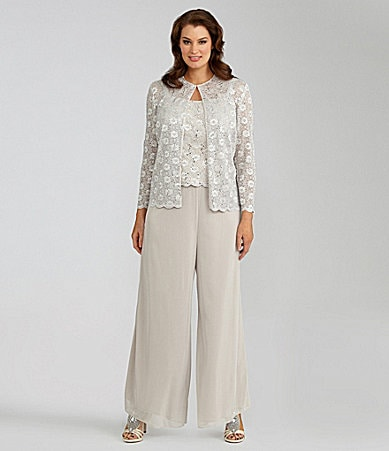 Alex Evenings Woman Lace Twin Set & Mesh Pants