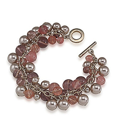 Carolee Rose Colored Glow Beaded Toggle Bracelet
