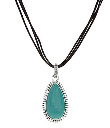 Dillard�s Tailored Turquoise Pendant Necklace