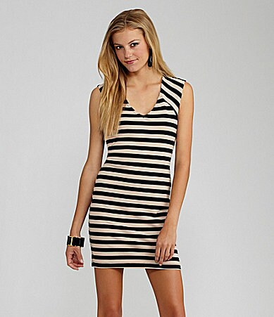 GB Striped Lace Bodycon Dress