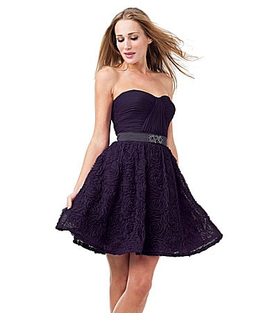 Adrianna Papell Tulle Rosette-Skirt Party Dress