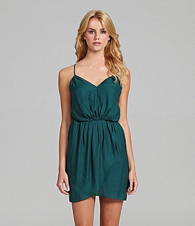 BCBGeneration Faux-Wrap Spaghetti Strap Dress