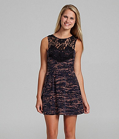 BCBGeneration Lace Trim Cocktail Dress