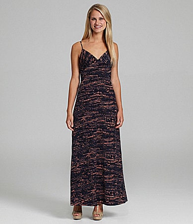 BCBGeneration Printed V-Neck Maxi Dress
