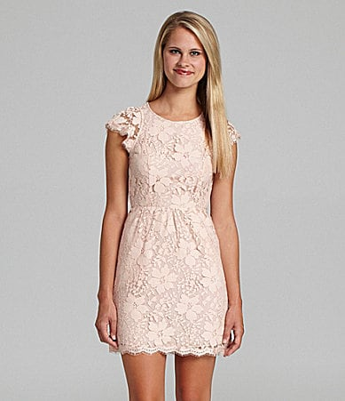 BCBGeneration Open Back Floral Lace Dress