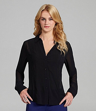 BCBGeneration Button-Front Chiffon Blouse