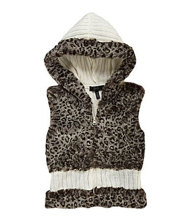 Jessica Simpson Tweenwear 7-16 Faux Fur Hooded Sweater Vest