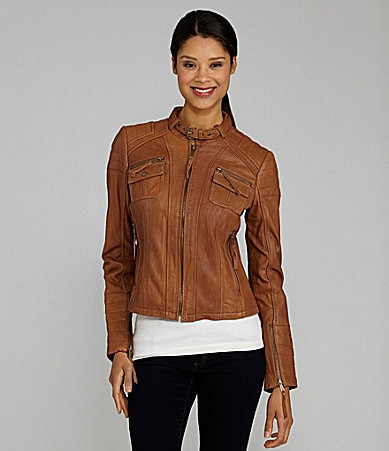 MICHAEL Michael Kors Zip-Front Leather Jacket