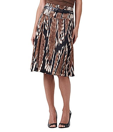 Adrianna Papell Belted Tribal-Print Skirt