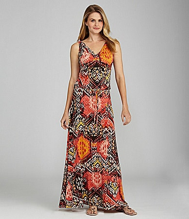 Cupio Sleeveless Blouson Tribal Print Maxi Dress