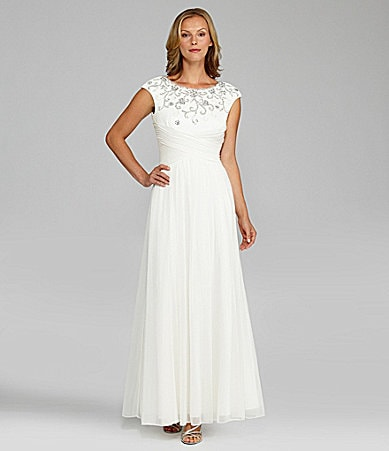 Alex Evenings Cap-Sleeve Beaded Bodice Gown