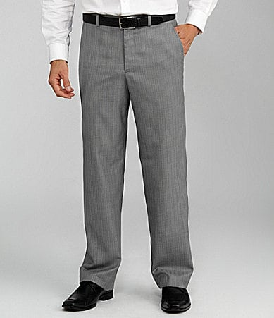 Perry Ellis Herringbone Classic Fit Flat Front Pants