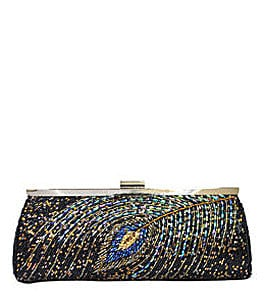 Nina Mae Fully Beaded Peacock Clutch