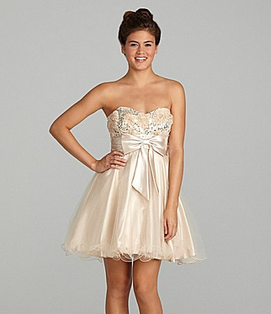 Masquerade Rossette Strapless Dress