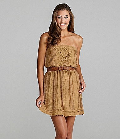 Jodi Kristopher Strapless Lace Dress