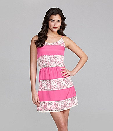 Gianni Bini Tracyn Lace-Stripe Dress