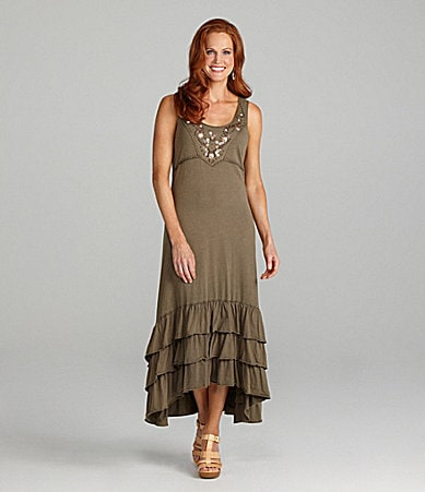 Reba Embellished Tiered Hi-Low Dress