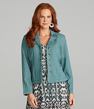 Reba Button-Front Cropped Jacket