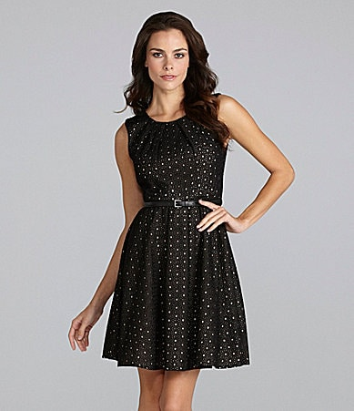 Vince Camuto Eyelet Belted Dress