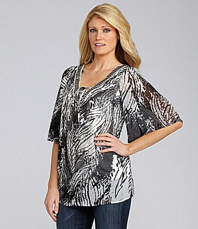 I.N. Studio Brushstroke-Print Top
