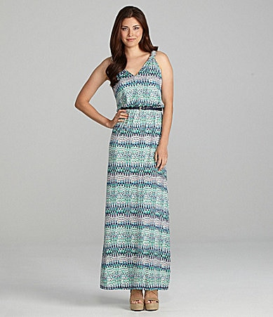Chelsea & Violet Zigzag-Print Belted Maxi Dress