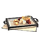 Artimino Venetian Hammered Glass Serving Tray with Metal Stand