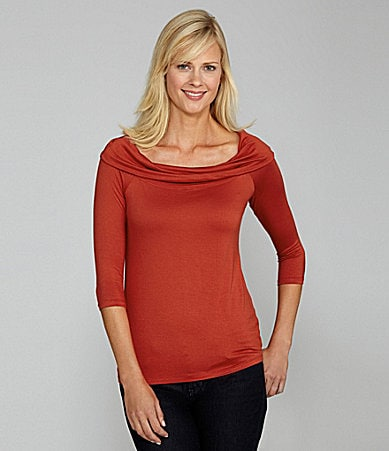 Bobeau Fold-Over Boatneck Top