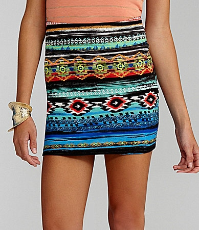 GB Printed Bodycon Mini Skirt