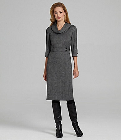 Antonio Melani Caleigh Cowlneck Herringbone Dress