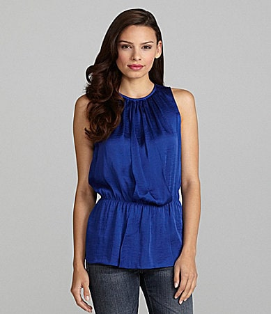 Vince Camuto Pleat-Neck Peplum Top