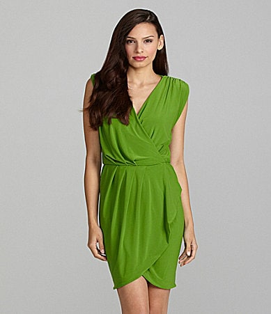 Vince Camuto V-Neck Pleated Faux-Wrap Dress