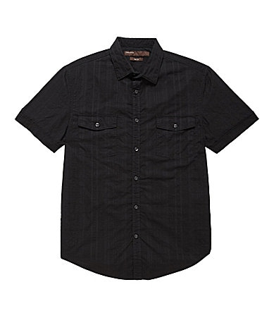 Perry Ellis Textured Plaid Sportshirt