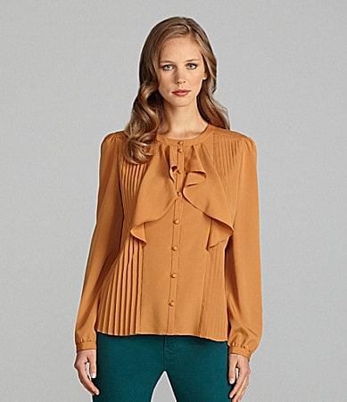 Cremieux Catherine Pleated Button-Front Blouse