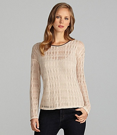 Cremieux Mariya Open-Knit Elbow-Patch Shirt