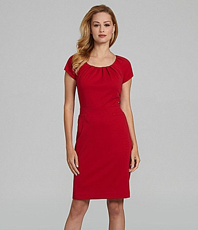 Antonio Melani Deedra Pleated Neckline Dress