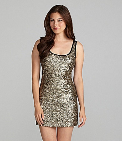 Chelsea & Violet Sleeveless Sequin-Front Dress